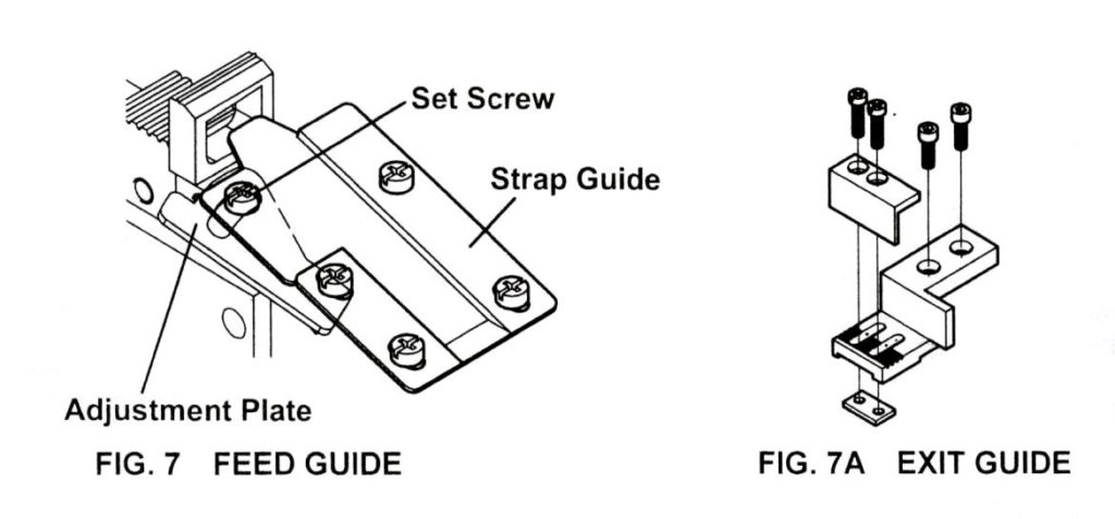 strapping machine strap feed guide